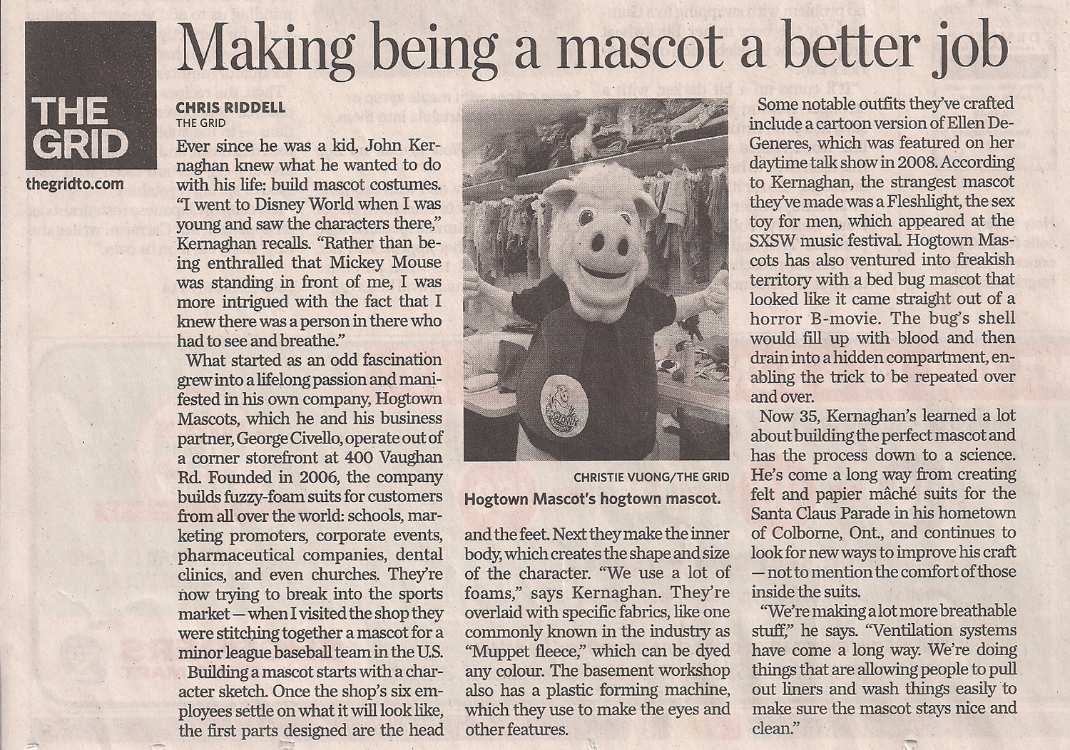 Hogtown_Mascots_Toronto_Star_March_2013 mascot costume makers In the Media GridTorontoStarMarch2013